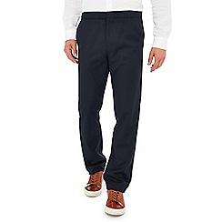 J by Jasper Conran - Big and tall navy drawstring waist straight leg trousers