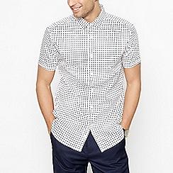 J by Jasper Conran - White Grid Pattern Short Sleeve Regular Fit Shirt