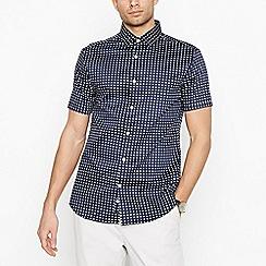J by Jasper Conran - Navy Grid Short Sleeve Regular Fit Shirt