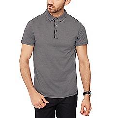 J by Jasper Conran - Big and tall black jacquard texture polo shirt