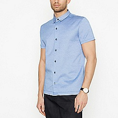 J by Jasper Conran - Blue Birdseye Short Sleeve Regular Fit Shirt