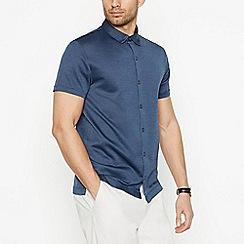J by Jasper Conran - Dark Blue Birdseye Short Sleeve Regular Fit Shirt