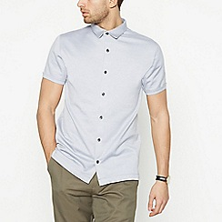 J by Jasper Conran - Grey Birdseye Short Sleeve Regular Fit Shirt