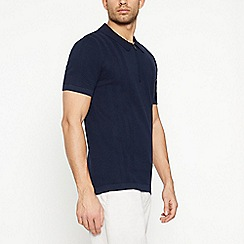J by Jasper Conran - Big and tall navy vertical striped knitted polo shirt