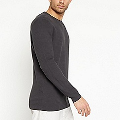 J by Jasper Conran - Dark Grey Textured Knit Cotton Jumper