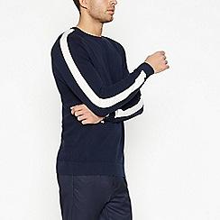 J by Jasper Conran - Navy Sleeve Stripe Knit Jumper