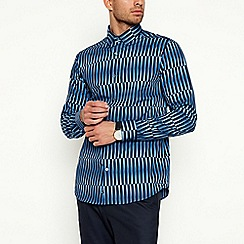 J by Jasper Conran - Blue Shard Long Sleeve Regular Fit Shirt