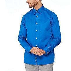 J by Jasper Conran - Bright blue cotton long sleeve regular fit shirt