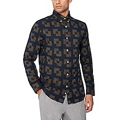 J by Jasper Conran - Navy geometric print long sleeve regular fit shirt