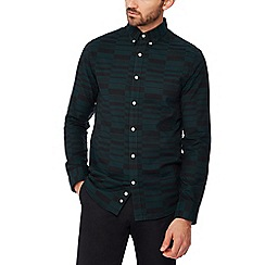 J by Jasper Conran - Dark green irregular check long sleeve regular fit shirt