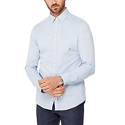 J by Jasper Conran - Blue marl long sleeve regular fit Oxford shirt