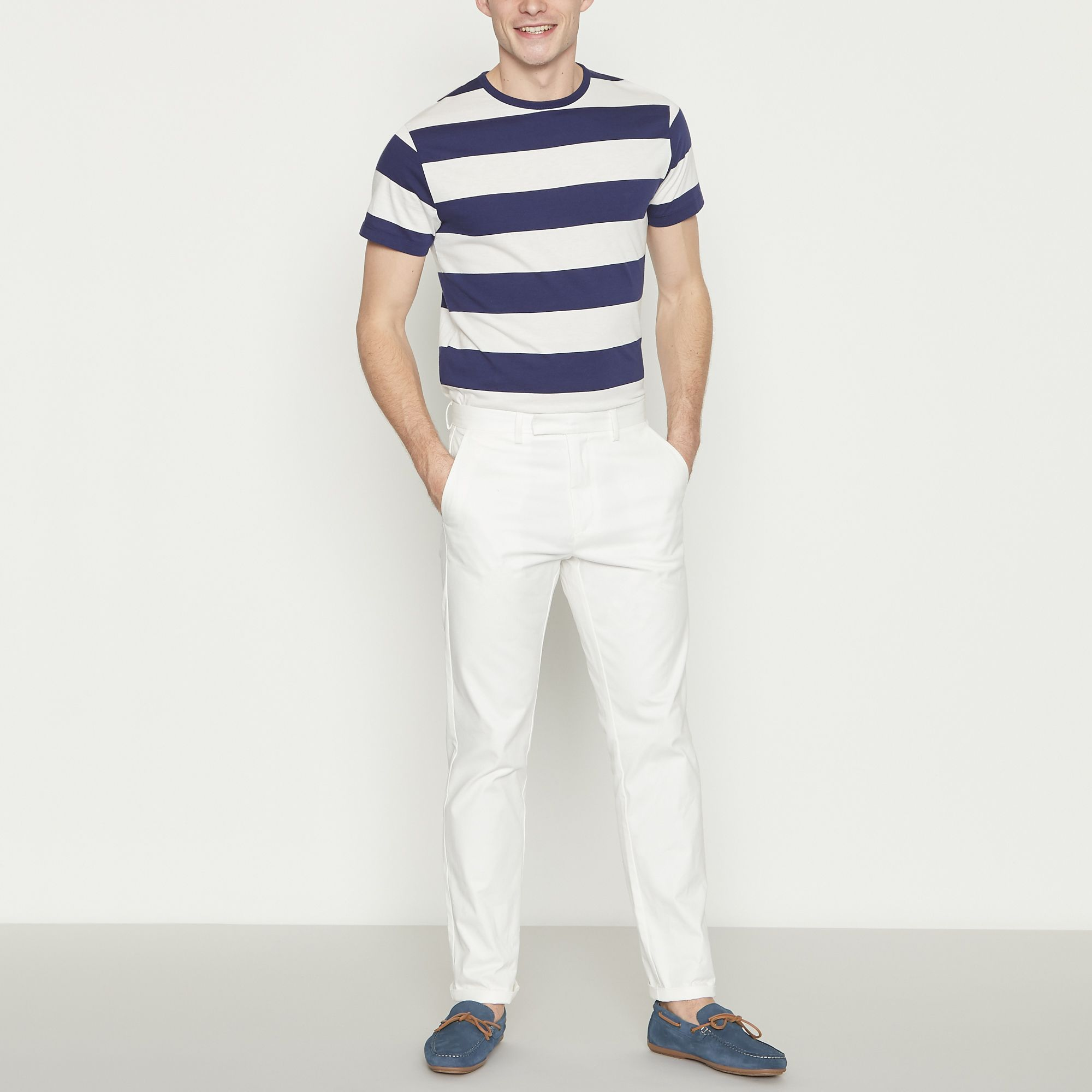 94c84b683 Details about J By Jasper Conran Men Big And Tall White Slim Fit Oxford  Chinos