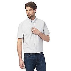 J by Jasper Conran - Big and tall white and khaki striped seersucker shirt