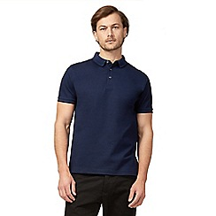 J by Jasper Conran - Big and tall navy textured polo shirt