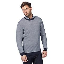 J by Jasper Conran - Big and tall navy striped print crew neck jumper