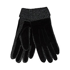 The Collection - Black twisted knot suede gloves