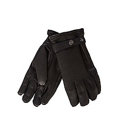 RJR.John Rocha - Black leather sherpa lined strap gloves