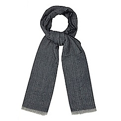 The Collection - Blue woven herringbone scarf