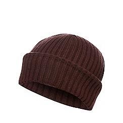 Red Herring - Dark red ribbed beanie hat