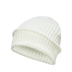Red Herring - Cream ribbed beanie hat