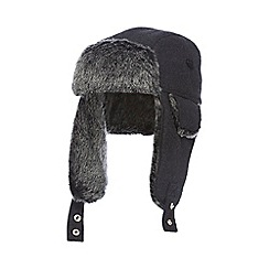 J by Jasper Conran - Dark grey melton trapper hat with wool