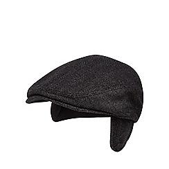 J by Jasper Conran - Dark grey earflap herringbone tweed flat cap