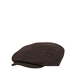 Hammond & Co. by Patrick Grant - Brown checked baker boy hat with wool