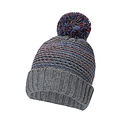 Mantaray - Grey knitted float stitch bobble hat