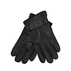 The Collection - Black panelled leather gloves