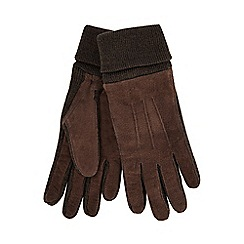The Collection - Brown leather knitted edge gloves