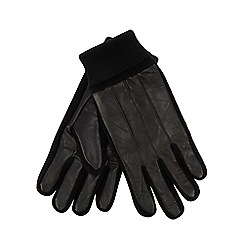 The Collection - Black leather knitted edge gloves