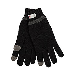 The Collection - Black heat insulating touch screen knit gloves