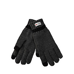 The Collection - Grey heat insulating touch screen knit gloves