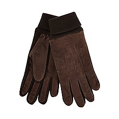 The Collection - Brown suede knitted edge gloves