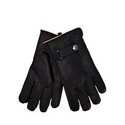 Mantaray - Black leather borg lined gloves