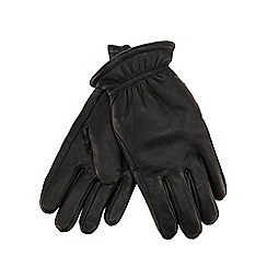 Mantaray - Black leather borg lined gloves