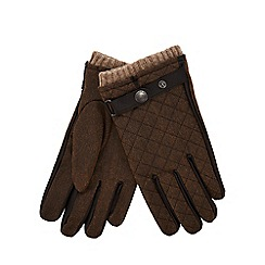 Mantaray - Brown quilted gloves