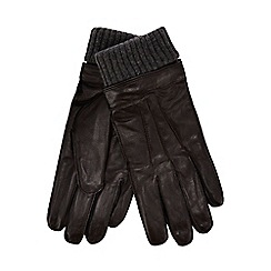 Hammond & Co. by Patrick Grant - Brown ribbed cuff leather gloves