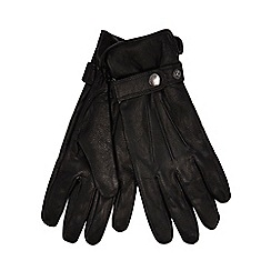 Hammond & Co. by Patrick Grant - Black leather strap gloves