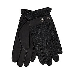 Hammond & Co. by Patrick Grant - Black Harris Tweed leather gloves