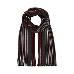 The Collection - Dark red striped scarf