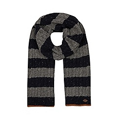 Mantaray - Grey striped cable knit scarf with wool