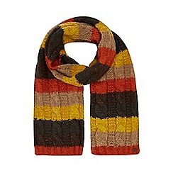 Mantaray - Yellow textured stripe scarf