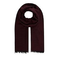 J by Jasper Conran - Wine red wool blend herringbone scarf