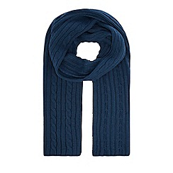 Hammond & Co. by Patrick Grant - Dark turquoise cable knit scarf with wool