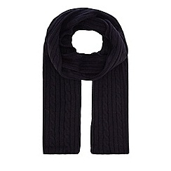 Hammond & Co. by Patrick Grant - Navy cable knit scarf with wool