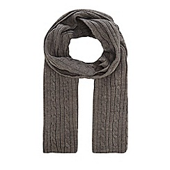 Hammond & Co. by Patrick Grant - Dark grey cable knit scarf with wool