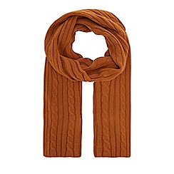Hammond & Co. by Patrick Grant - Camel cable knit scarf with wool
