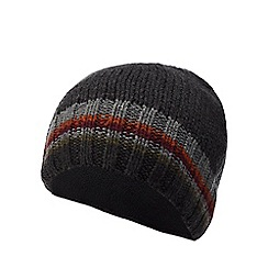 Mantaray - Dark grey striped knit beanie