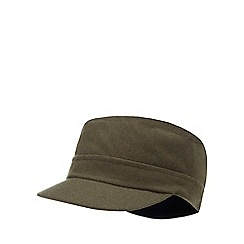 J by Jasper Conran - Olive train driver hat with wool